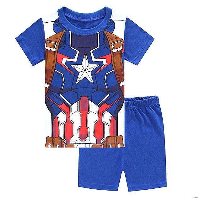ยางยืดออกกําลังกาย☞◆ใช้โค้ด BAAPR20 ลดเพิ่ม 20% 2Pcs เด็กชายชุดนอนชุดนอนเด็กเสื้อ + กางเกงขาสั้นชุดชุดนอนกัปตันอเมริกา