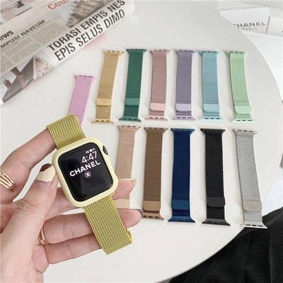 สายนาฬิกา สาย applewatch สายนาฬิกา applewatch สายนาฬิกาอัจฉริยะ IWATCH6 Milan loop magnetic suction stainless steel appl