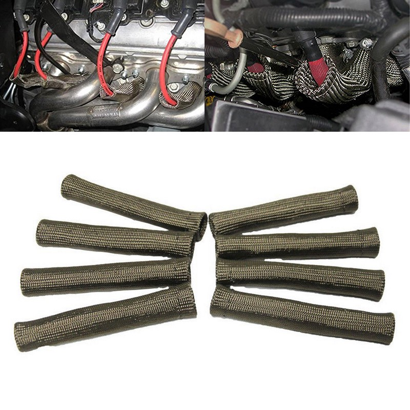 8pcs 2500° anium Spark Plug Wire Boot Protector Sleeve Heat Shield on mercedes boots, sway bar link boots, rubber boots, wire terminal boots, heat shield for boots, paul bond boots, spark plug heat boots, ignition coil boots, speaker wire boots, spark plug insulation boots, insulated boots, tie rod end boots, ford spark plug boots, e46 spark plug boots, coil plug boots, terminator boots, ceramic spark plug boots, electrical wire boots, motorcycle spark plug boots, battery cable boots,