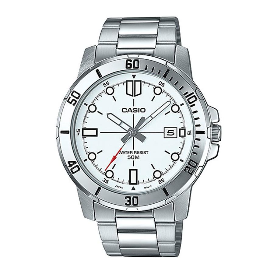 Casio Standard นาฬิกาข้อมือผู้ชาย สายสแตนเลส รุ่น MTP-VD01D,MTP-VD01D-7E - สีเงิน