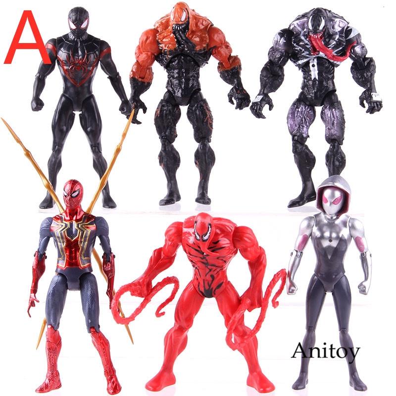 6PCS Marvel Avengers Venom Carnage Gwen Spider-Man Action Figure Model Set Toy