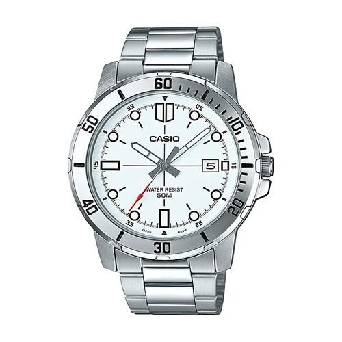 CASIO นาฬิกาข้อมือผู้ชาย สายสแตนเลส สีเงิน รุ่น MTP-VD01D-7EVUDF, MTP-VD01D-7E, MTP-VD01D