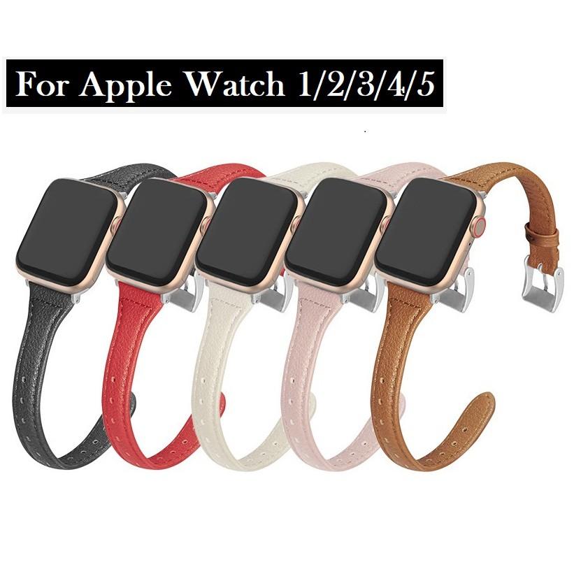 สายหนัง Apple Watch Band ขนาด 38 มม. 40 มม. 42 มม. 44 มม. สายหนังแท้พรีเมี่ยม iWatch Series 5 4 3 2 1 สาย Apple watch มีทุกขนาด ทุก Series สายหนัง Leather Band