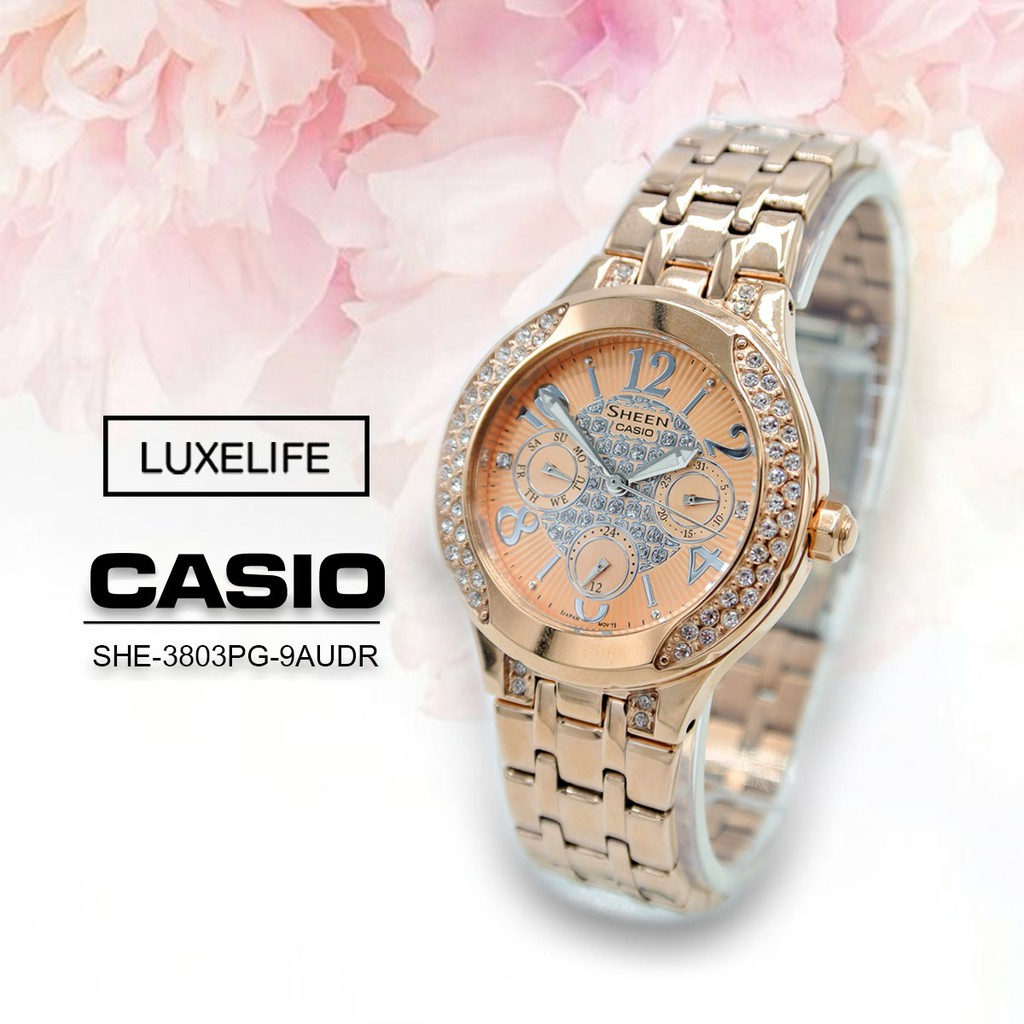 Casio Sheen- นาฬิกาข้อมือสตรี สายสแตนเลส รุ่น SHE-3803PG-9AUDR - สีพิงค์โกล