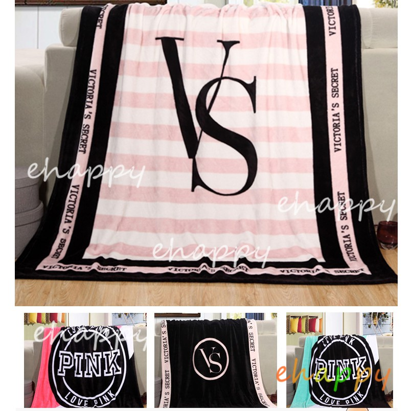 eh🌹 Bedding Victoria's Secret coral fleece blanket VS Sofa Bed Car Plaids  Bedspread ผ้าห่มขนสัตว์ ผ้าห่ม