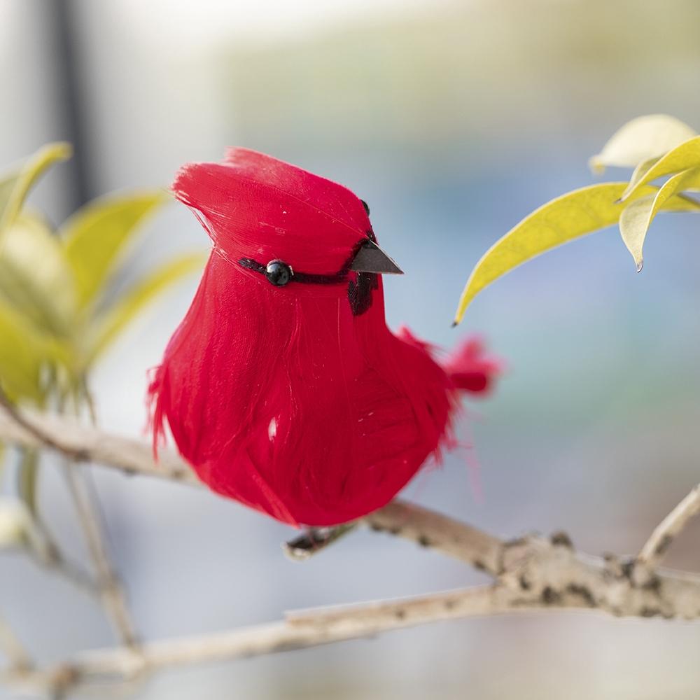 Funny Clip-on Mini Fake Birds Red Bird Christmas Tree Ornaments Xmas Decor 1PC