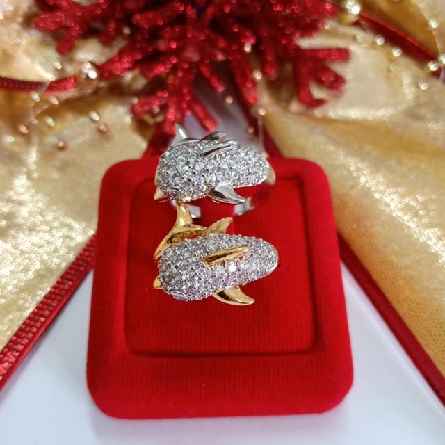 แหวน เพชร cz โลมา ชุบทองไมครอน และทองคำขาว ราคาพิเศษ