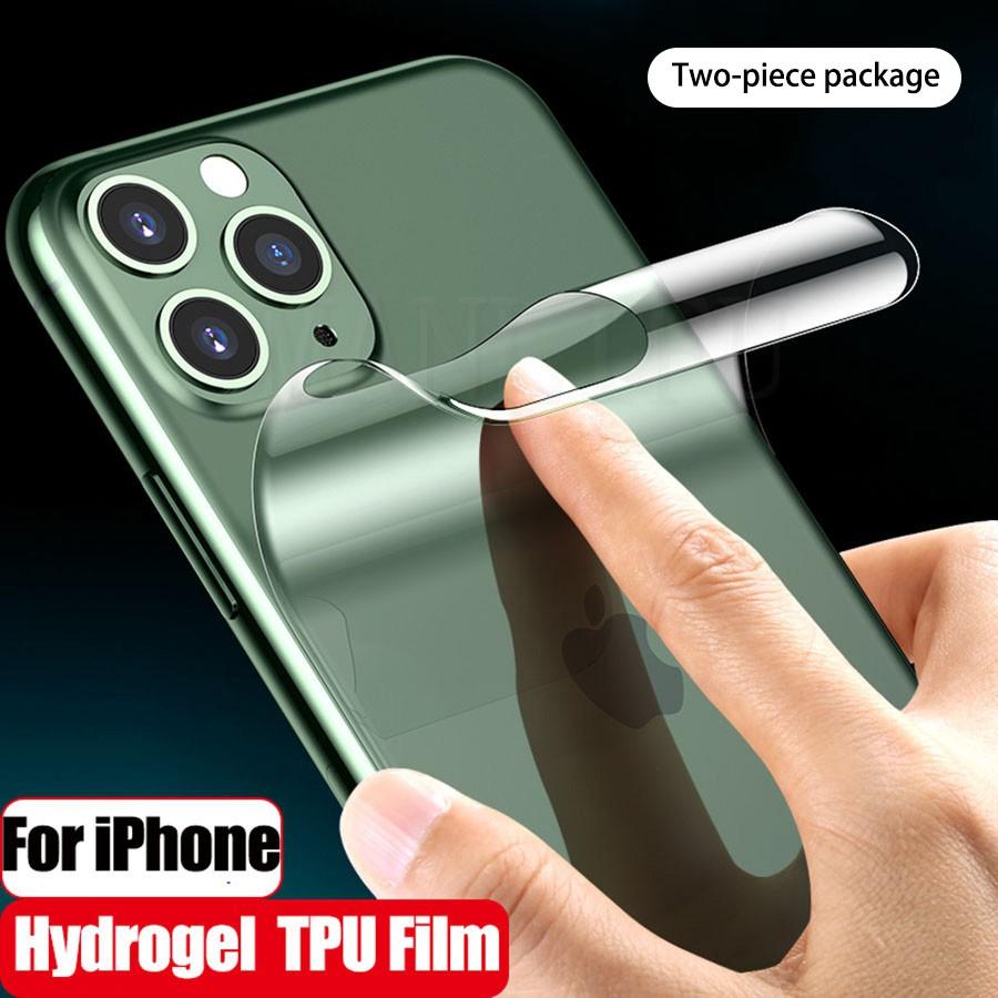 สติ๊กเกอร์ป้องกันโทรศัพท์มือถือ สองชิ้น iPhone 11 Pro Max SE2 6 7 8 Plus X XS Max XS XR ฟิล์มป้องกัน สติ๊กเกอร์ป้องกันหลัง แสงสีฟ้า โปร่ง