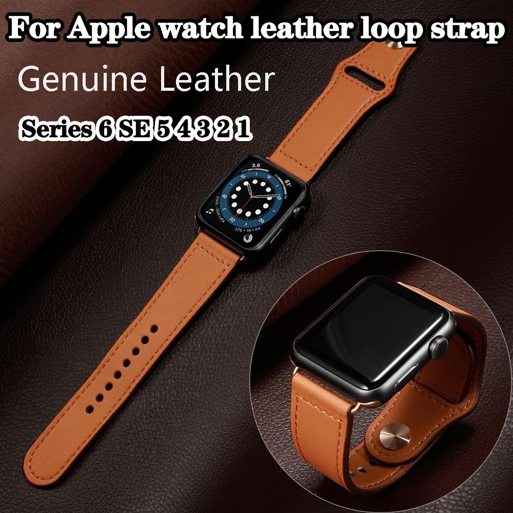 สายนาฬิกา apple watch 6 Band 44 มม. 40 มม. 42 มม. 38 มม. สายหนังแท้พรีเมี่ยม iwatch series 6 SE 5 4 3 2 1