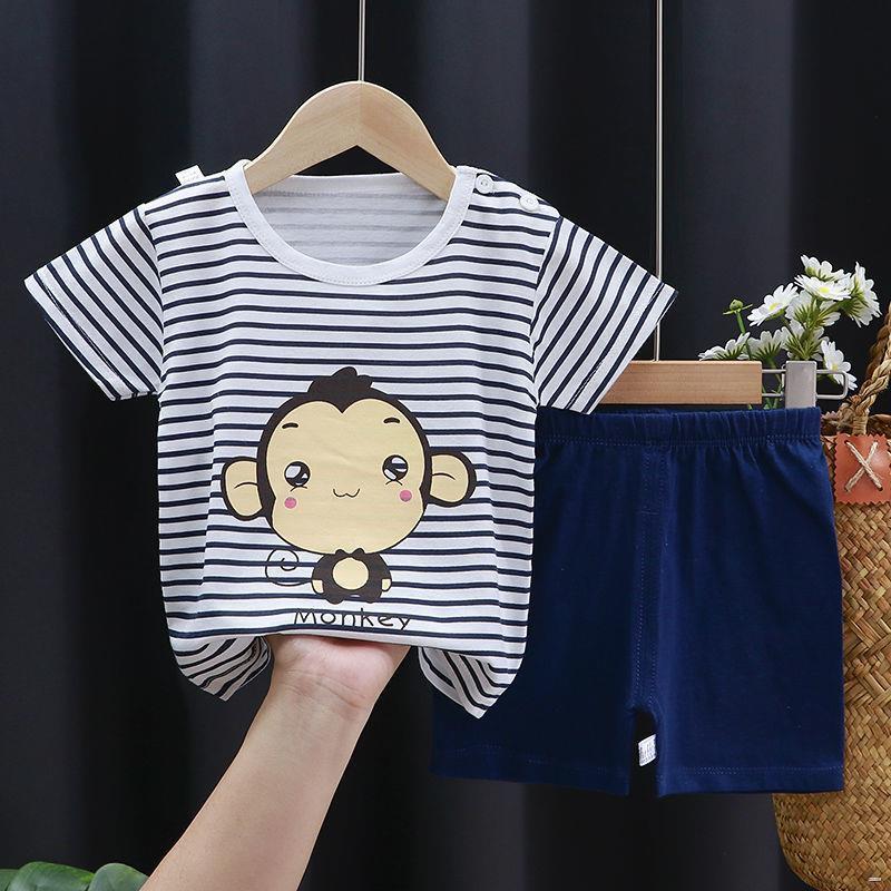ยางยืดออกกําลังกาย☋✆(เสื้อผ้าเด็ก)  ชุดสูทเด็กแขนสั้น เสื้อผ้าเด็กผ้าฝ้ายเด็กชายกางเกงขาสั้นเด็กหญิงครึ่งแขน 0-7 ปีเสื้