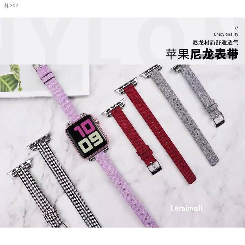 ✲☃สายนาฬิกา สาย สำหรับ AppleWatch series 1/2/3/4/5/6 SE  38/40/42/44mm สาย W55 /W56 X6 pro Max  p90 watch 5 สายหนัง+ผ้า