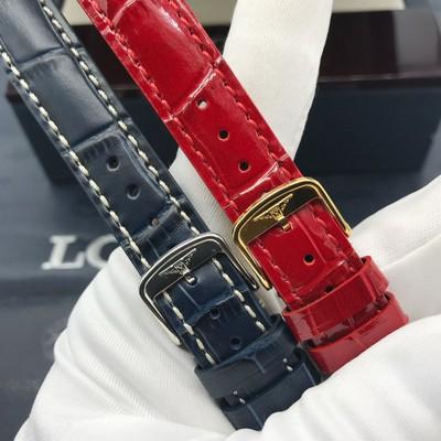 〃Εสายนาฬิกา applewatchนาฬิกา 22mmสายนาฬิกา Longines Dicuo Vina Series l5.255รุ่นผู้หญิงลายไม้ไผ่หัวเข็มขัดผีเสื้อสีแดงสา