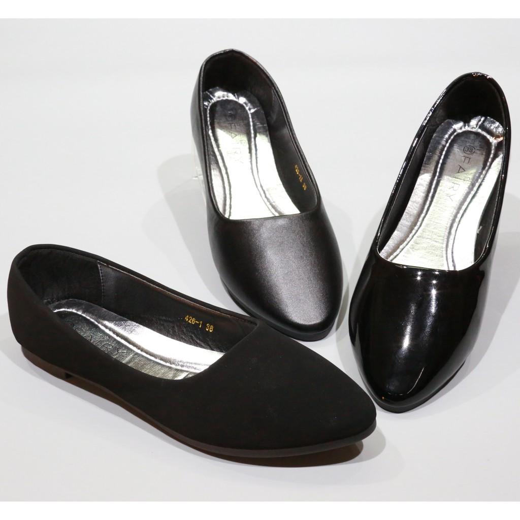 รองเท้าคัชชูส้นเตี๊ย 426/1,1A,1B รองเท้าคัชชูส้นแบน หัวแหลม รองเท้าผู้หญิง รองเท้าส้นแบน