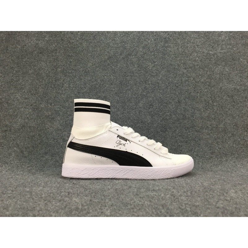 free shipping dd060 3085a รองเท้าผู้ชาย Puma PUMA Clyde x atmos T.T.T leather knit high socks shoes  genu