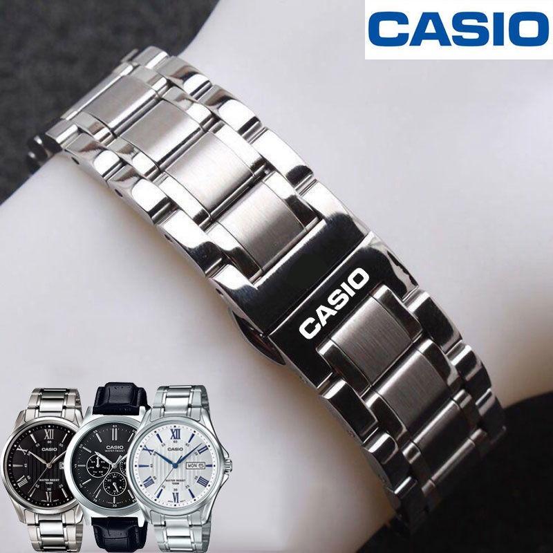 สายนาฬิกา Casio สายเหล็กสำหรับผู้ชายและผู้หญิง Original หัวเข็มขัดผีเสื้อ BEM501 506 507 สร้อยข้อมือสแตนเลส