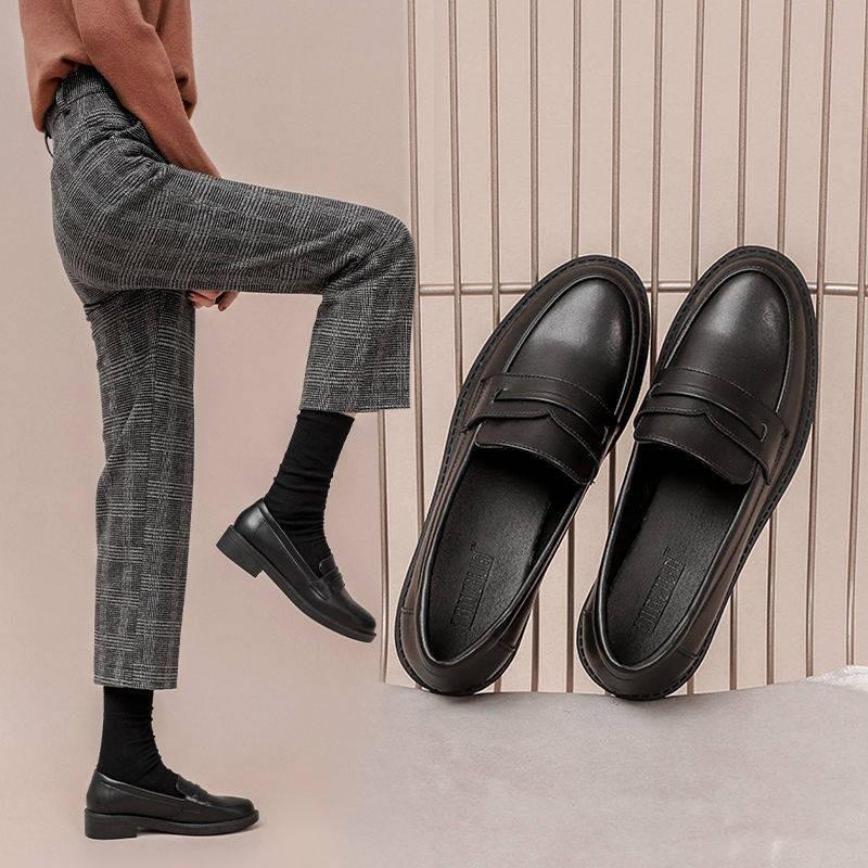 รองเท้าคัชชู ร้องเท้า รองเท้าผู้หญิง ✭ลมอังกฤษรองเท้าหนังขนาดเล็กหญิงสีดำป่าตื้นปาก, หนึ่งเท้า, รองเท้า Lefu, รองเท้าถั่