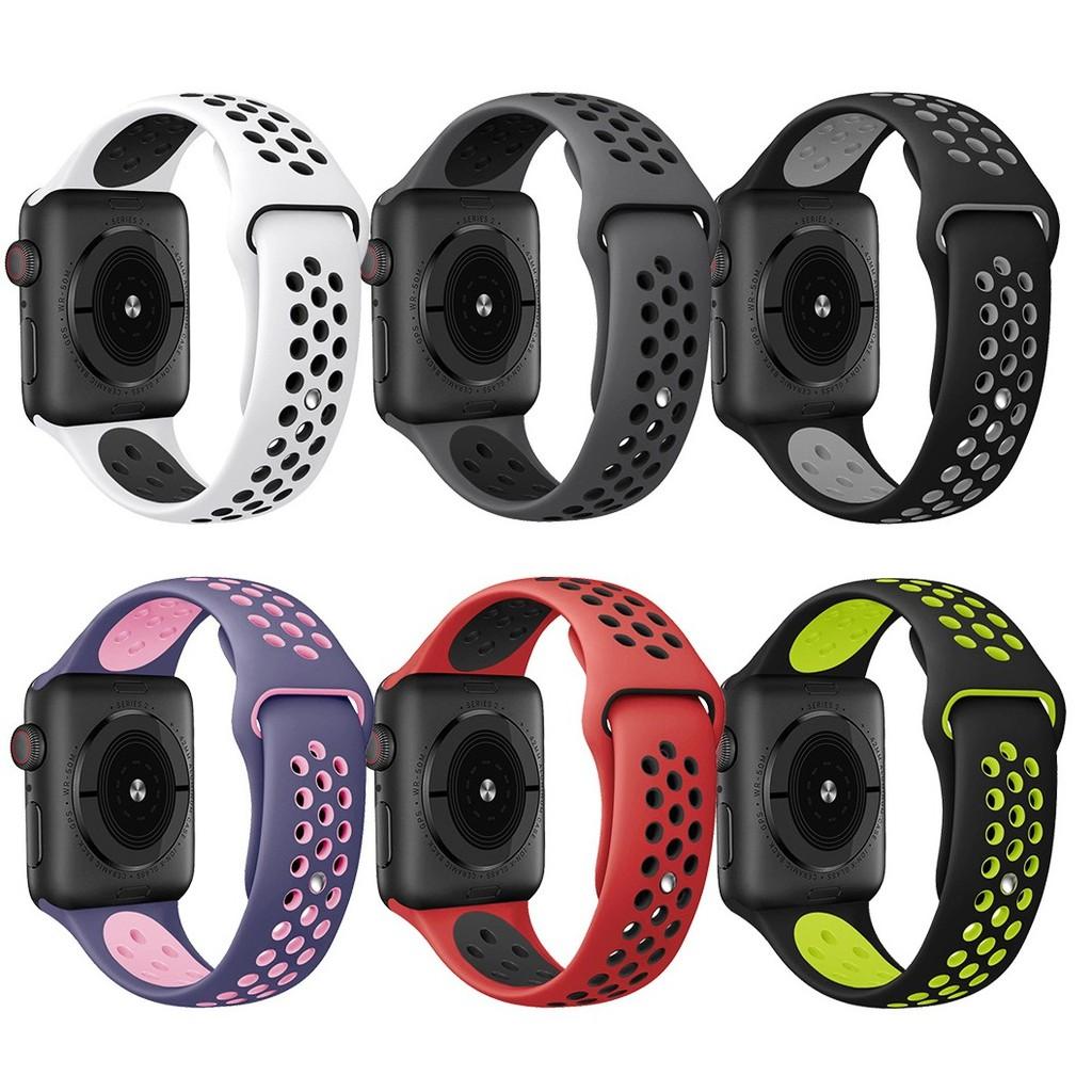 ღღสายนาฬิกา Apple Watch สายนาฬิกาข้อมือ sports Silicone band Series1/2/3/4/5/6,Apple Watch SE band iWatch4 strap 40mm 44