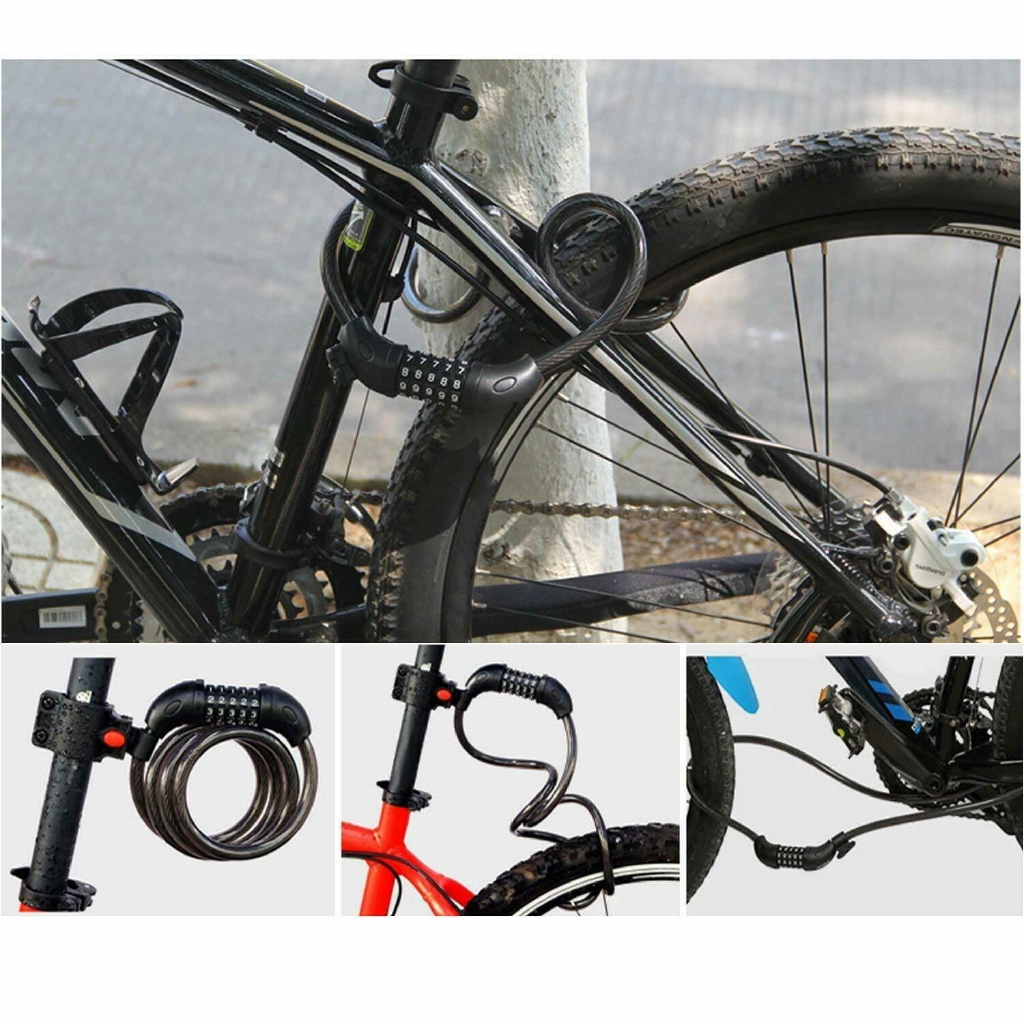 Cycling Security 5 Digit Combination Password Bike Bicycle Cable Chain Lock Free