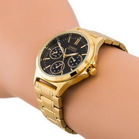 TIMELINES CASIO ของแท้ 100% นาฬิกาข้อมือผู้ชาย สีทอง หลายเข็ม  สายสแตนเลส MTP-V300G-7A พร้อมกล่องและรับประกัน 1ปี MTPV30