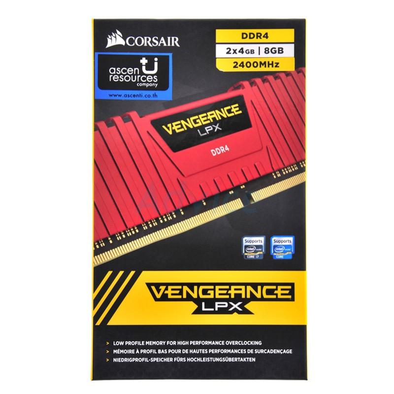 RAM DDR4(2400) 8GB  (4GBX2) Corsair Vengeance LPX Red