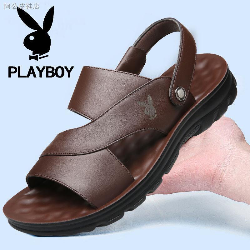 Playboy รองเท้าแตะหนังแท้สําหรับผู้ชาย