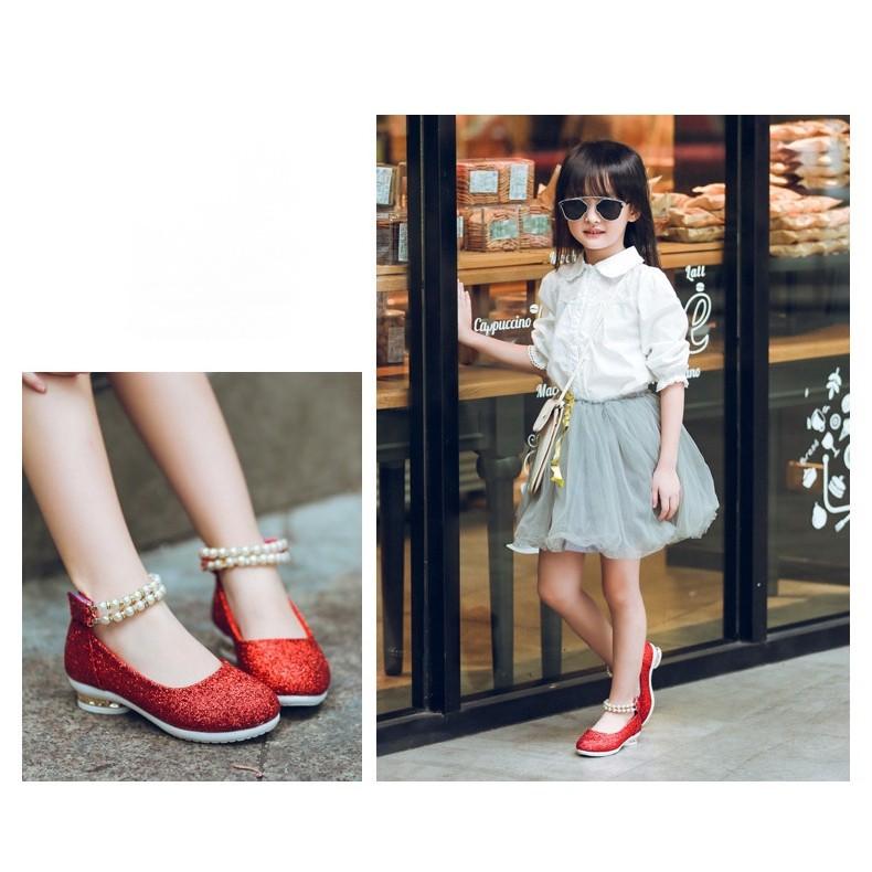 ☋♞◐shoe14201 รองเท้าคัชชูเด็กสีแดง รองเท้าคัชชูเด็กเล็ก รองเท้าคัชชูเด็กโต (ยาว=ความยาวพื้นในรองเท้า) รองเท้าออกงานเด็ก