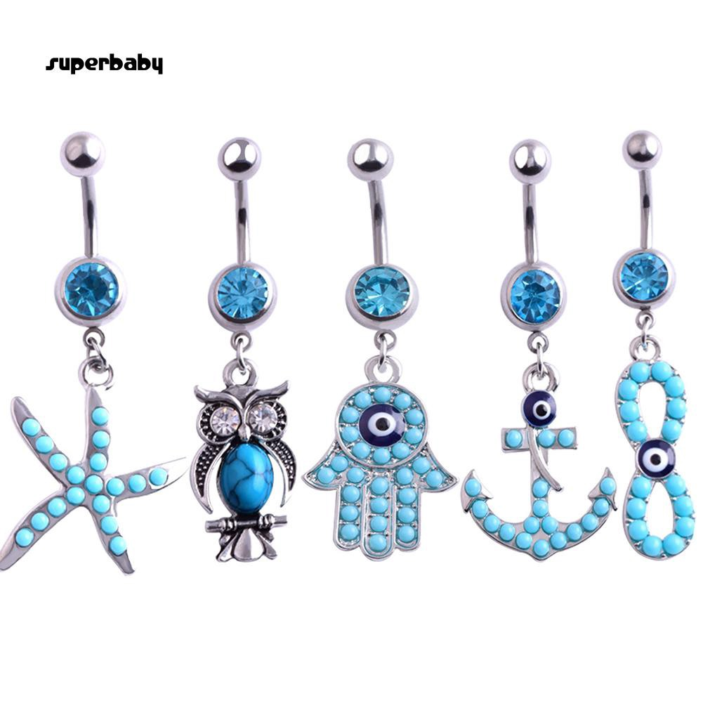 Crystal Sea Star Navel Rings Dangle Belly Button Rings Body Piercing Jewelry