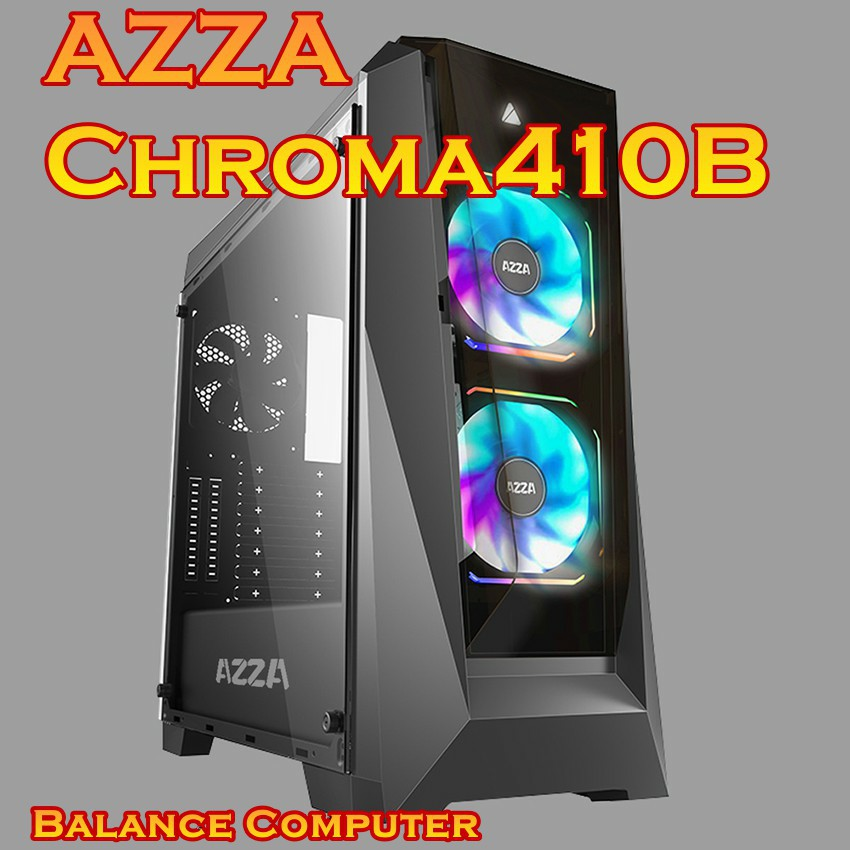 AZZA Mid Tower Tempered Glass RGB Gaming Case Chroma 410B - Black