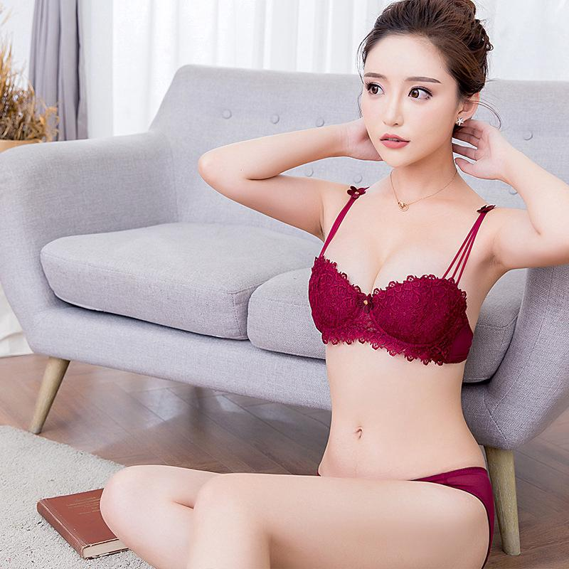 65687d43d87 Thin cup bra with steel ring lace sexy bra double-breasted gathered  underwear