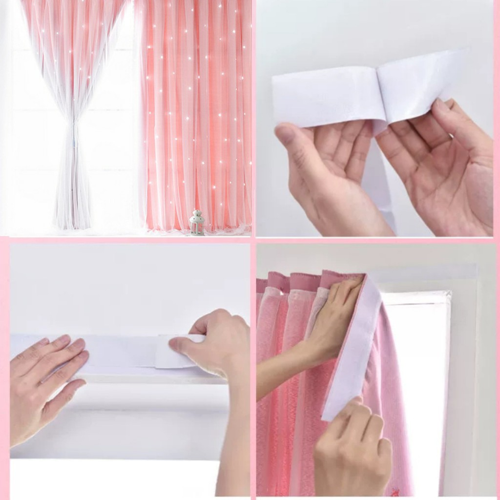 ผ้าม่านหน้าต่าง ผ้าม่านสำเร็จรูป กันแสง 2 ชั้น ใช้ตีนตุ๊กแก รูปดาว Gzxh