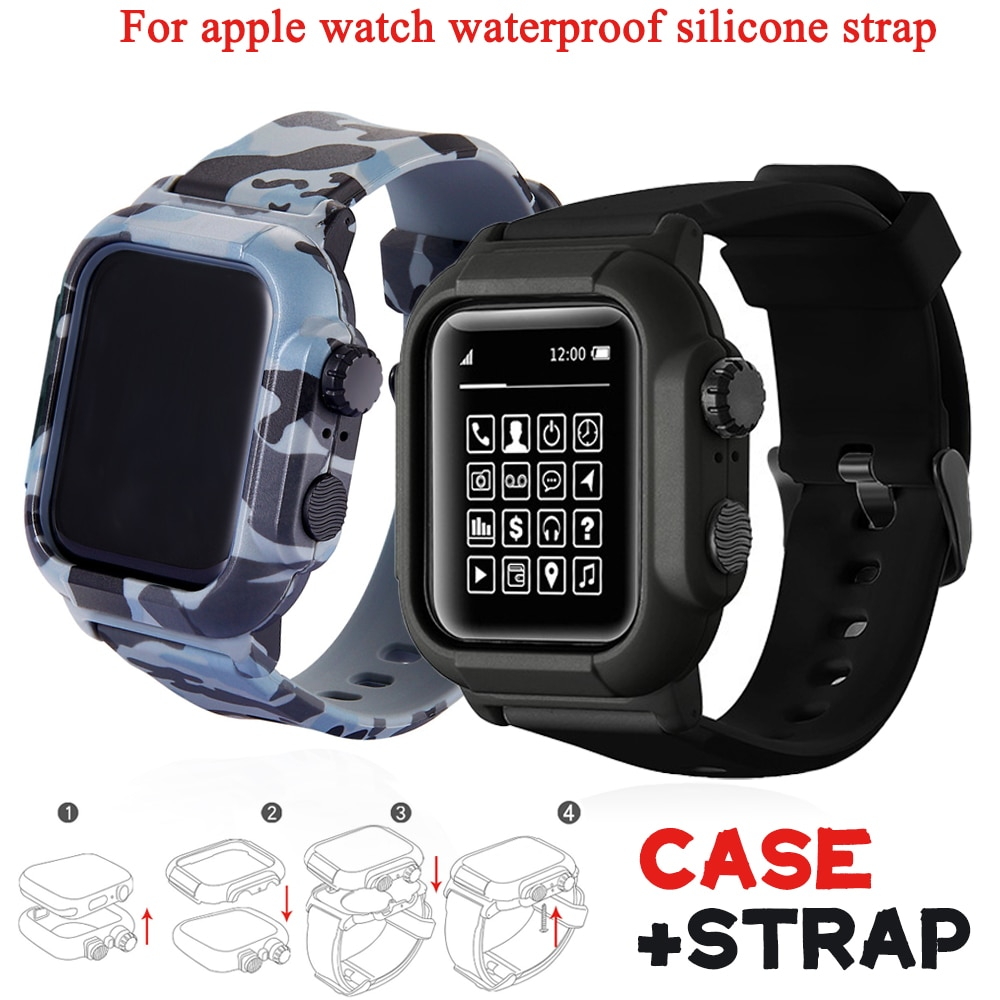 Case+silicone Strap for Apple Watch 5 Band 42mm 44mm Waterproof Bracelet for Iwatch 6 4 Band 38mm 40mm Diving Siliconest