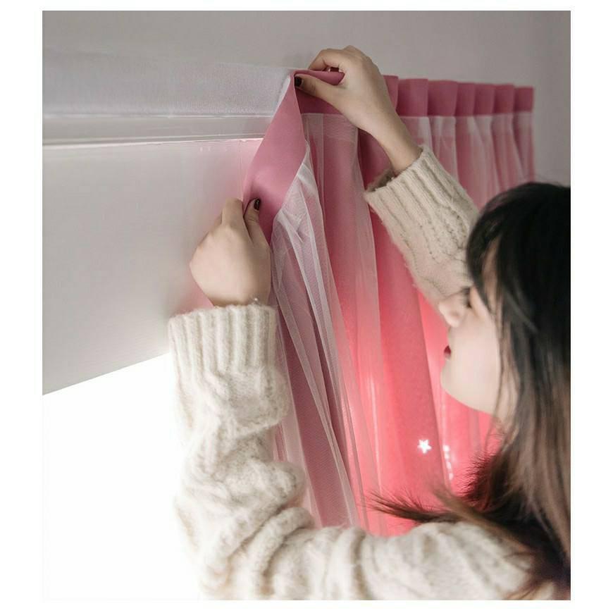 ✴☢▣ผ้าม่านประตู กั้นห้อง ผ้าม่านหน้าต่าง ผ้าม่านสำเร็จรูป ติดด้วยตีนตุ๊กแก กันแสงกันยูวี รูปดาว