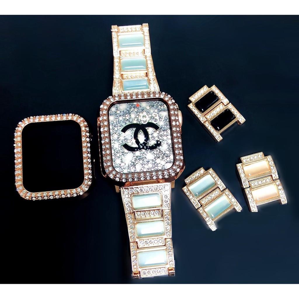 ✈ใหม่ Apple Watch สายนาฬิกา + เคส รูปสี่เหลี่ยมขนมเปียกปูน สาย applewatch เพชรพลอย Straps for Series 1/2/3/4/5/6 , SE, s