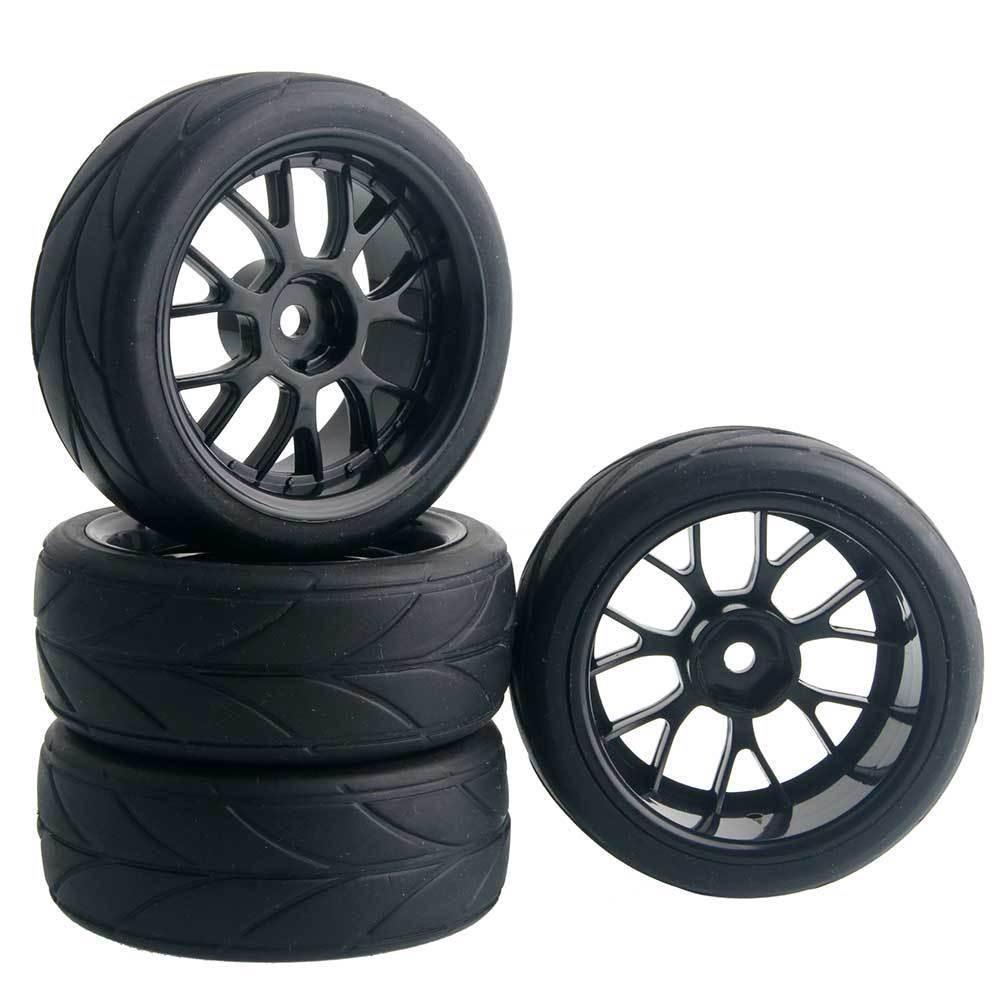 RC 907B-6081 Rubber Tires /& Wheel Plastic 4Pcs For HSP HPI 1//10 On-Road Car