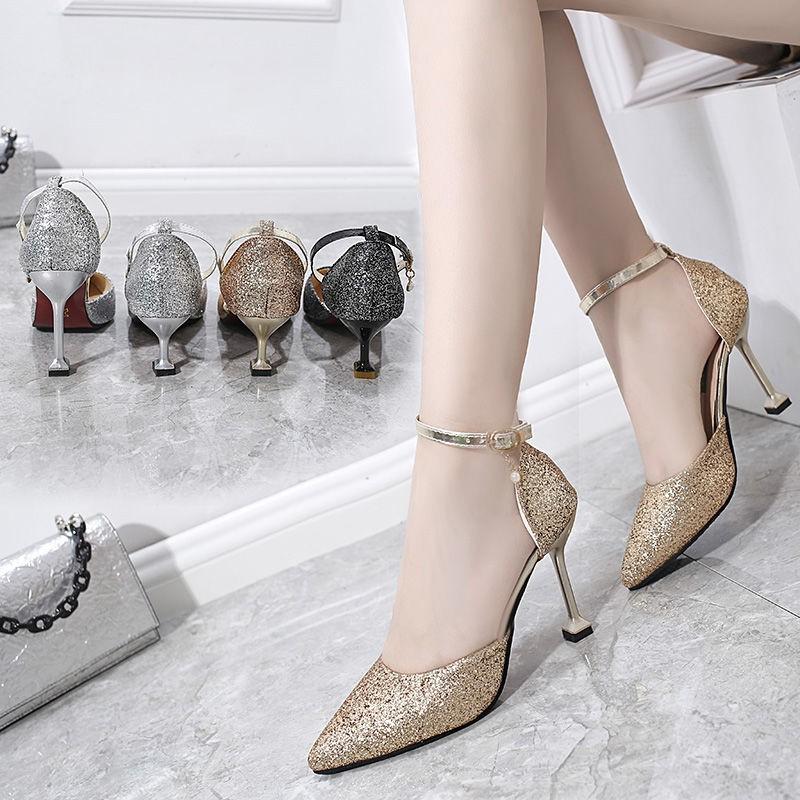 รองเท้าส้นสูง หัวแหลม ส้นเข็ม ใส่สบาย New Fshion รองเท้าคัชชูหัวแหลม  รองเท้าแฟชั่นคริสตัลรองเท้าผู้หญิงรองเท้าแต่งงานส้