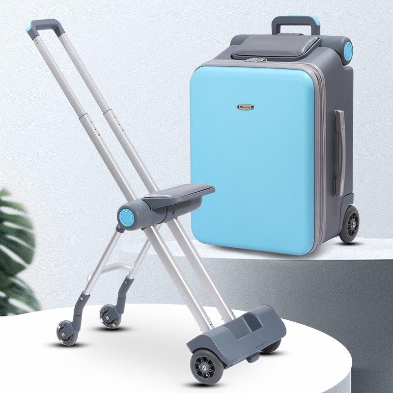 ムㇿ กระเป๋าเดินทางล้อลาก กระเป๋าเดินทางล้อลากใบเล็กขี้เกียจลื่นเด็กกล่องเด็กสามารถนั่งสามารถนั่งกรณีรถเข็นสามารถขึ้นเครื่