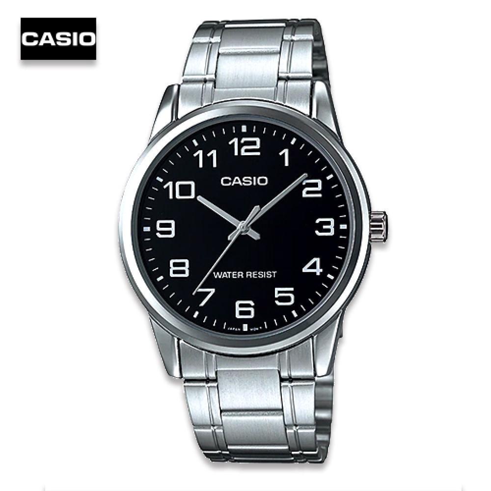 จัดส่งฟรีVelashop นาฬิกาข้อมือผู้ชาย Casio สายสแตนเลส รุ่น MTP-V001D-1BUDF หน้าปัดดำ, MTP-V001D-1B, MTP-V001D