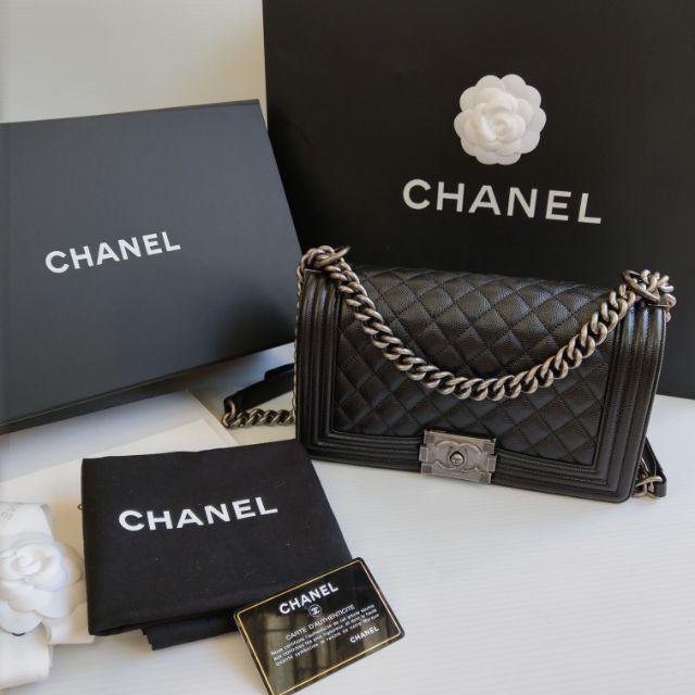 ราคาพิเศษ มือสองกระเป๋า เคส New!! Chanel Boy Caviar Black RHW