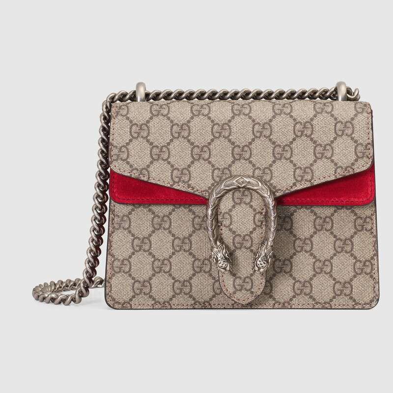 ใหม่ Gucci Dionysus ชุด GG ศาลฎีกาผ้าใบไหล่กระเป๋ามินิ 20cm สีเบจ