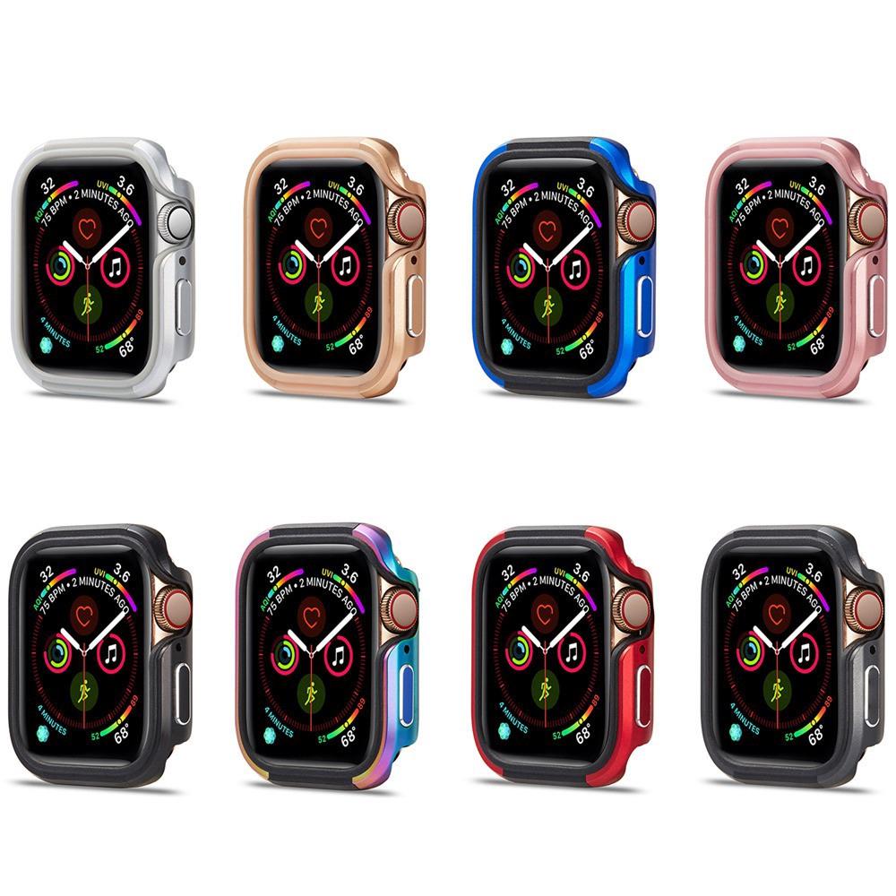 คุณภาพดี Case Apple Watch 44มม 40มม Series 4 5 อลูมิเนียมอัลลอยด์โลหะ + ซิลิโคน iWatch 40mm 44mm