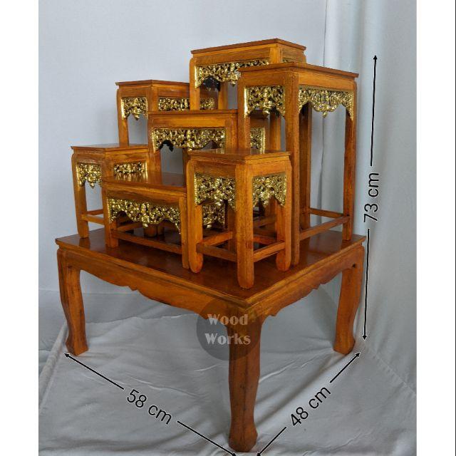 โต๊ะหมู่บูชาพระ หน้า 5 หมู่7 สีเหลืองลายไม้ กระจังทองปิด ราคาถูกที่สุดในช้อปปี้