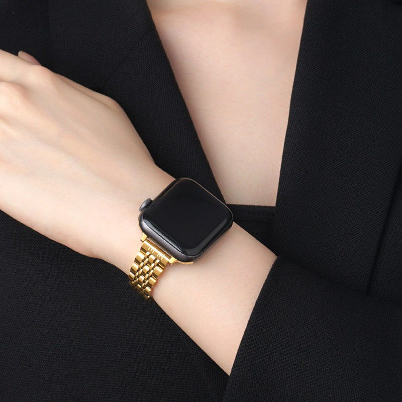 applewatch series 6❍♞สำหรับ Apple Watch รุ่นที่ 6 iwatch5 สายคาดเอวเล็ก Applewatch1/2/3/4/se สแตนเลสบาง