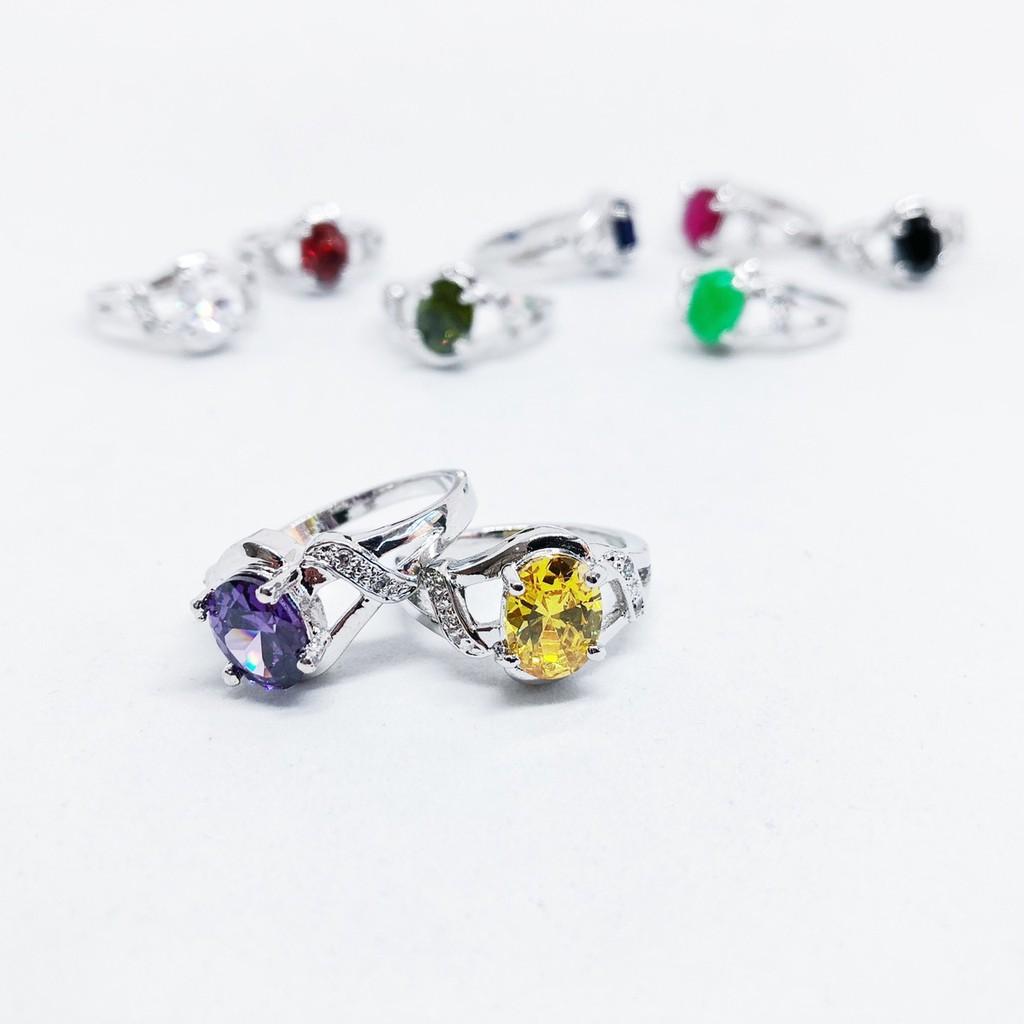 แหวนเล็ก พลอยสีนำโชค ประจำวันเกิดและเดือนเกิด ชุบทองคำขาว ราคาพิเศษ