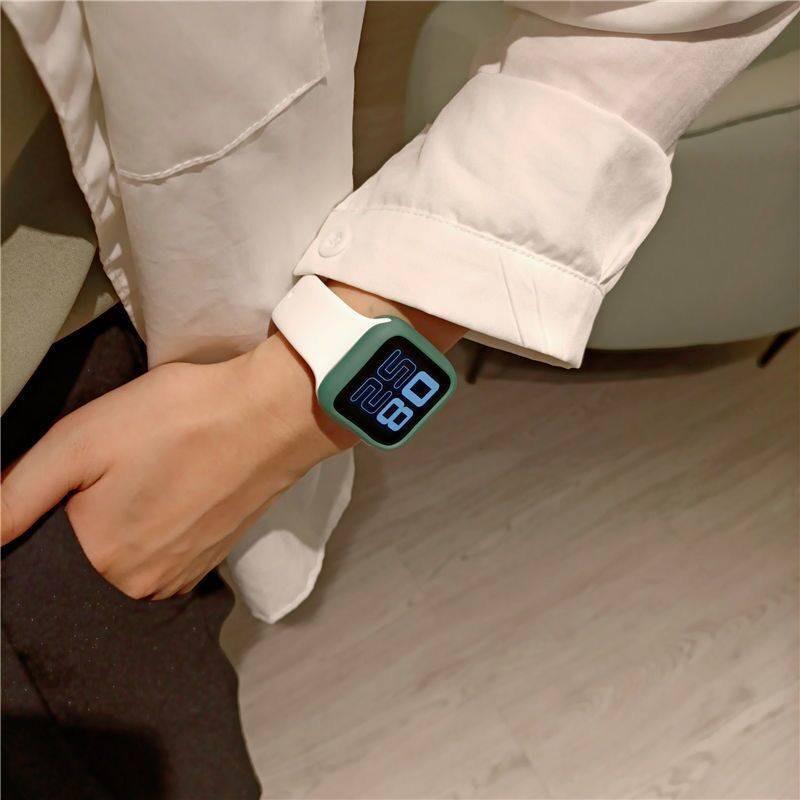 สาย applewatch Applewatch3 strap all-match casual iwatch1-6 generation se universal contrast color silicone Apple watch