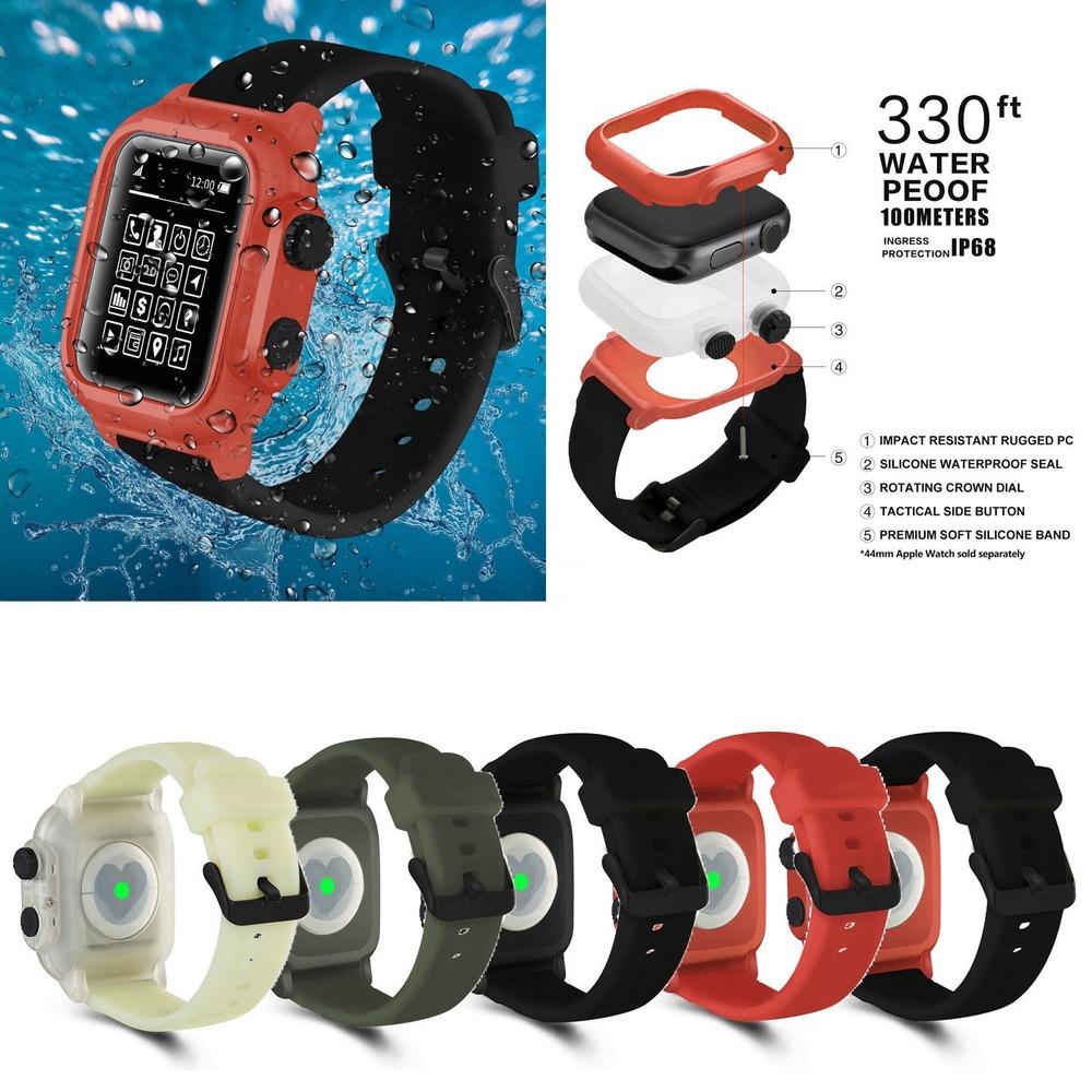 【Apple Watch Strap】ip 68 เคสกันน้ํา+สายคล้องนาฬิกาข้อมือซิลิโคนสําหรับ apple watch series 6 se 5 4 3 2 สําหรับ iwatch 44
