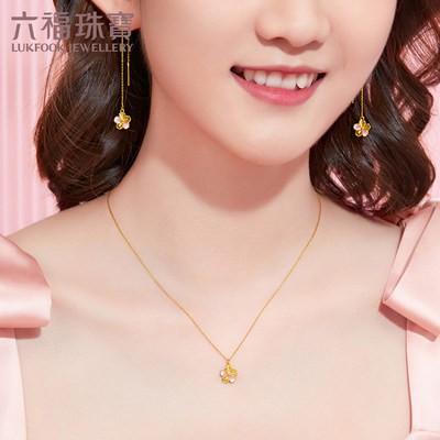ミ☠เครื่องประดับ Luk Fook สร้อยคอทองคำดอกพีชสำหรับผู้หญิงสร้อยคอจี้ทองคำบริสุทธิ์พร้อมโซ่ขยายราคา gdgtbn0007z