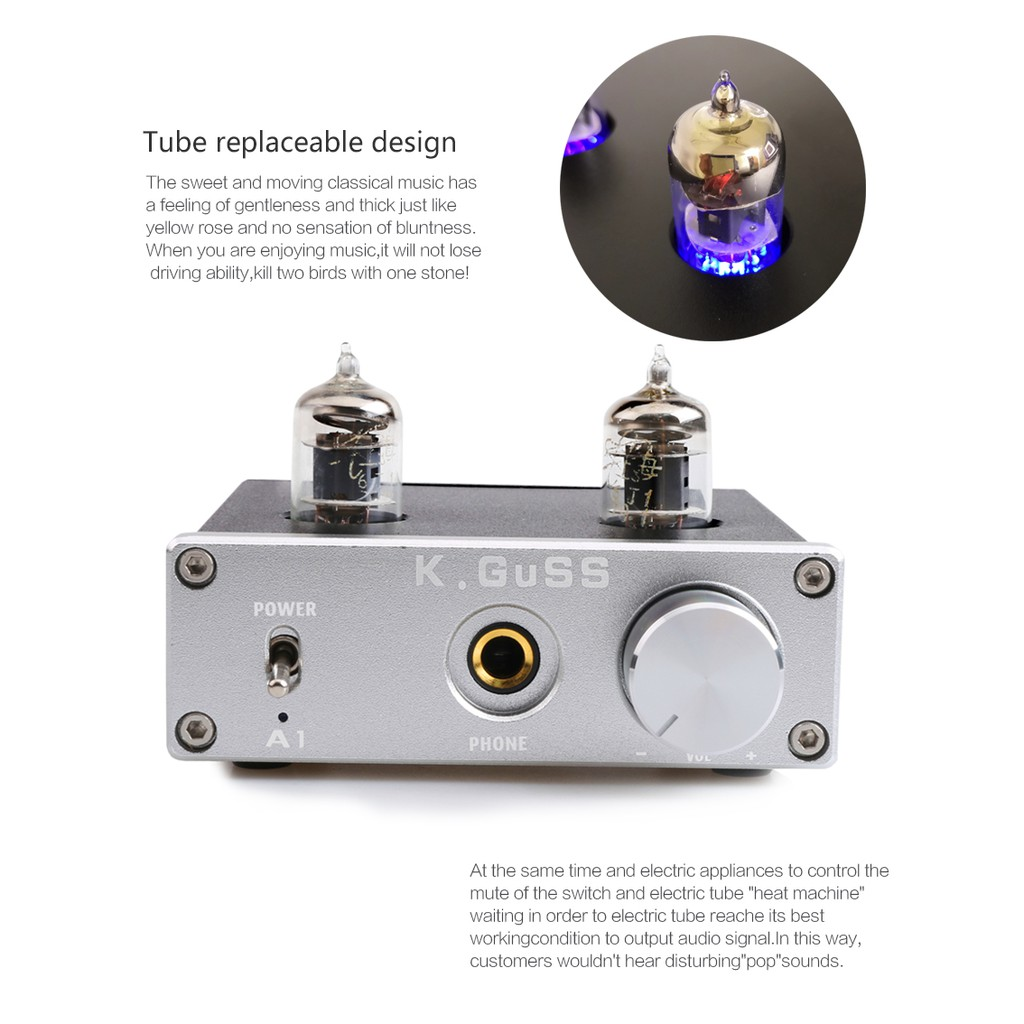 😊😊KGUSS A1 MINI 6J1 audio tube bile headphone amplifier NE5532 6K4  headphone amp