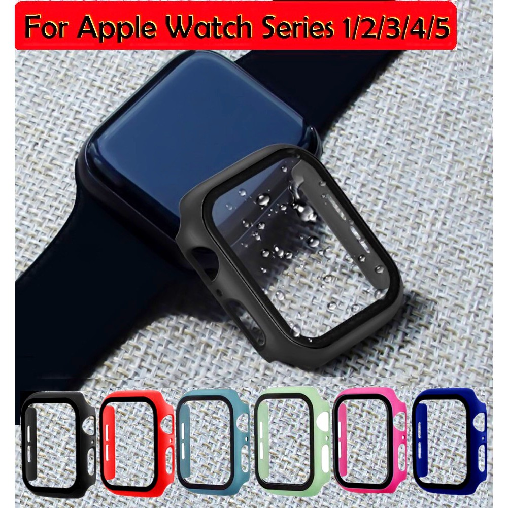 เคส Apple Watch Series 5 4 3 2 iWatch 38mm 40mm42mm 44mm Case Tempered glass Full covered Hard Protective Cover