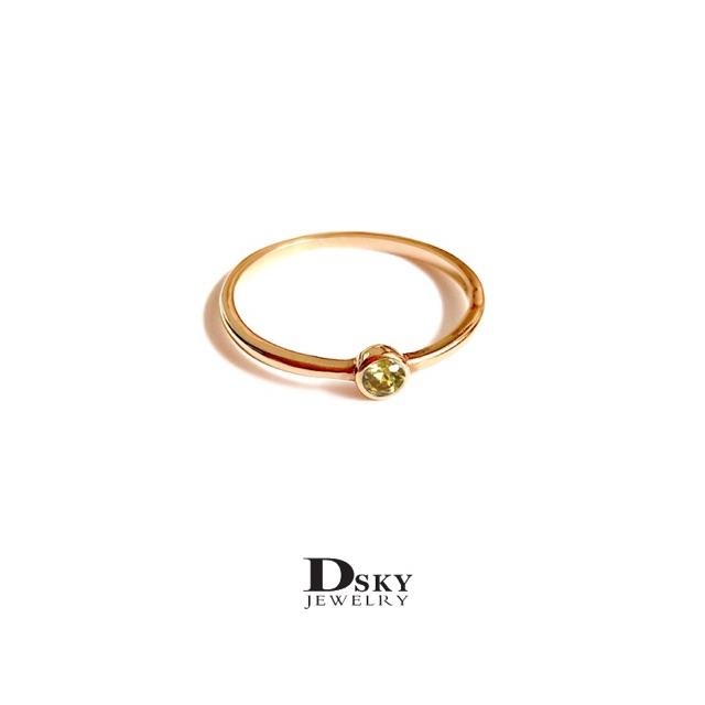 แหวนเงินแท้925 แหวนแฟชั่น แหวนราคาถูก แหวนวันเกิดมินิฝังบุษราคัม สไตล์มินิมอล ชุบทอง ไม่ลอก ไม่ดำ