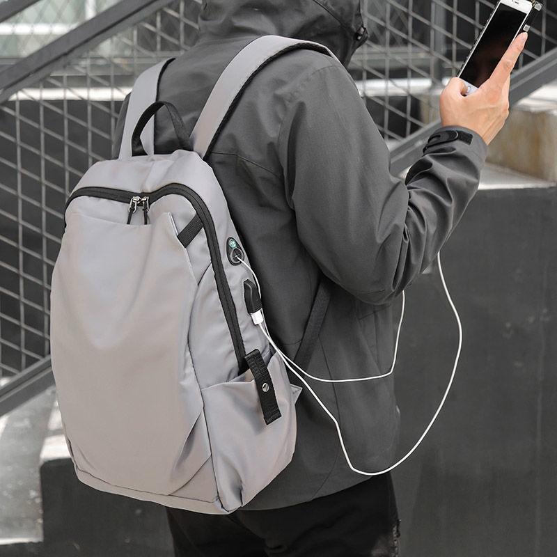 ▨กระเป๋าเป้สะพายหลังผู้ชายและผู้หญิง 15 นิ้วกระเป๋าเป้สะพายหลังแบบชาร์จไฟได้กระเป๋าเดินทางธุรกิจความจุขนาดใหญ่ 14 นิ้วกร